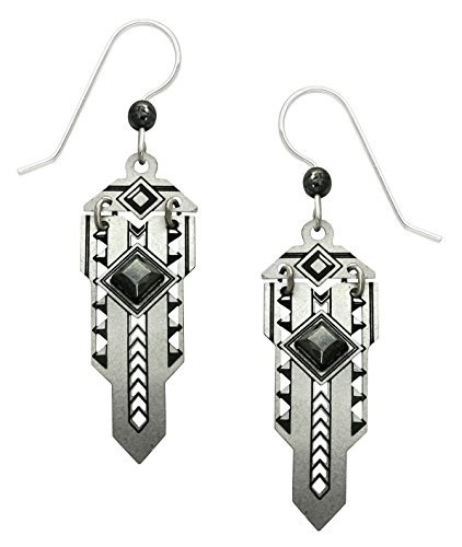 Adajio Handmade Hinged Metal Art Deco 'Sword' Earrings with Hematite Diamond-Shaped Faceted Cabochon - - Pear Shaped Face Men