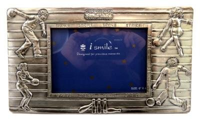 Pewter picture frame with images of people bowling and the words