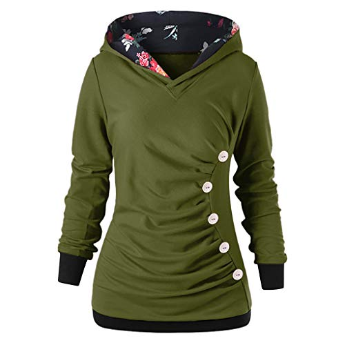 Willsa Long Sleeve Shirt for Women, Fashion Hoodies Solid Color Slim Button Printed Sweatshirt Tops