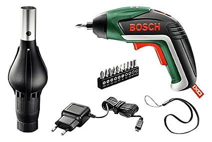 Bosch Barbacoa 06039A800G - Atornillador de litio IXO V (3,6 V, 1,5 Ah, cargador Micro-USB, 10 puntas, adaptador de barbacoa)