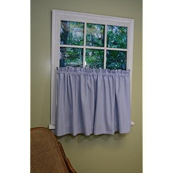 Amazon Com Curtain Chic Chambray Seersucker Tier 24 Inch