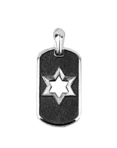 (David Yurman Sterling Silver 27 mm Star of David Dog TAG Enhancer 27P New Box)