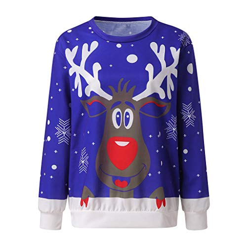 ✶ HebeTop ✶ Unisex Ugly Christmas Sweatshirt Novelty Sweater Women Print Funny Xmas Pullover Crewneck Blue (Novelty Christmas For Jumpers Sale)