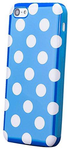 Apple iPhone 5C | iCues lunares TPU negro / color | Señoras de las mujeres de las muchachas de gel de silicona adorno del modelo de piel protectora de protección [protector de pantalla, incluyendo] Cu Azul