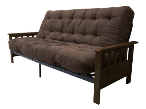 Portland 10-Inch Inner Spring Futon Sofa/Sleeper Bed, Full, Walnut Arms Suede Chocolate Brown - Portland Stores Premium Outlet