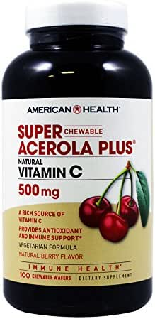 American Health Super Acerola Plus Chewable Wafers, Natural Berry Flavored Vitamin C - Provides Antioxidant & Immune Support - Gluten-Free, Vegetarian - 500 mg, 100 Total Servings