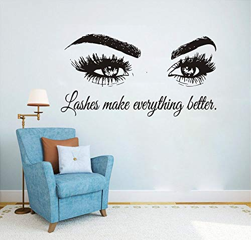 Wall Decal Beauty Salon Quote Sticker Lashes Make everything Better Beautiful Eyes Eyelashes Lashes Extensions Brows Wall Sticker Make Up Wall Window Mural AY1075 (BLACK, 57X103CM) by YOYOYU ART HOME DECOR (Image #7)
