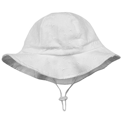 Twinklebelle Toddler Girls White Cotton Sun Hats 50 UPF, Drawstring Adjustable, Stay-On Tie (M: 6-30m, Floppy Hat: Tiny Floret)