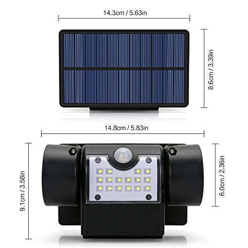 Hallomall Outdoor Solar Wall Lights, Motion Sensor Detector, No Battery Required, No Dim Light Mode, 3 Pack