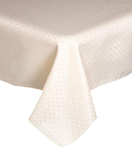 Lintex Chelton Beehive Weave Jacquard Fabric Tablecloth Easy Care Stain Resistant and Water Repellent Indoor and Outdoor Solid Color Tablecloth - 60 Inch X 84 Inch Oblong/Rectangular, Ivory