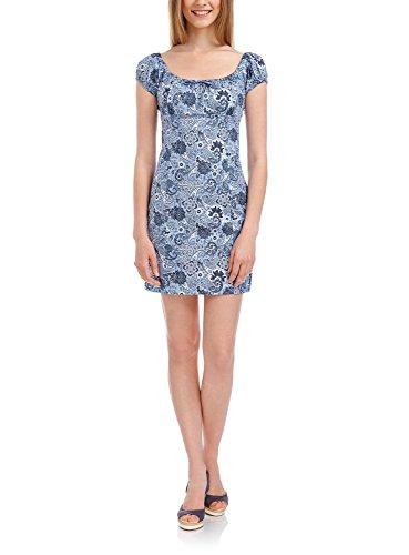 oodji Ultra Mujer Vestido Estampado de Algodón Azul (7079E)