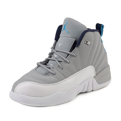 Nike Baby Boys Jordan 12 Retro BP ''Wolf Grey'' Wolf Grey/University Blue-White Suede Size 2Y by Jordan