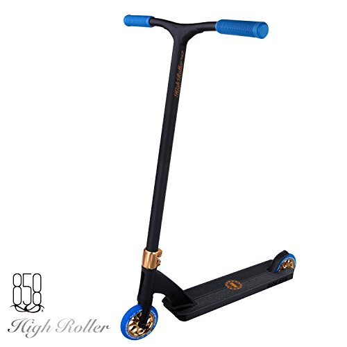 High Roller Scooter With Forged Neck Tube To Avoid Breaks + Light Strong Deck With Patent Reinforced Aluminium Bar For The Ultimate Performance By Ride 858 (BRONZE/BLUE)