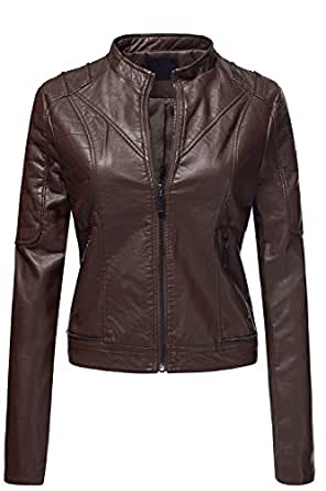 Pu Quilted Moto Biker Faux Leather Jackets, 006 - Cocoa, Small