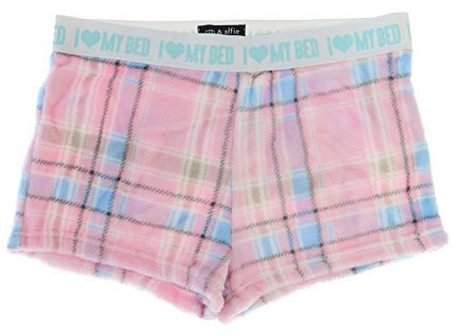 Em & Alfie Juniors Fluffy Pajama Shorts with Sequins (X-Large, Dream Plaid)