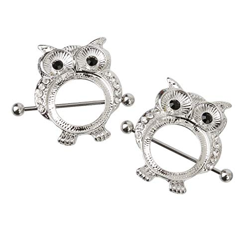 (1 Pair Sexy Stainless Body Piercing Jewelry Owl Nipple Shield Barbell Ring)
