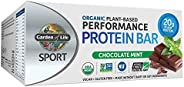 Garden of Life SPORT Protein Bars, Organic Plant Based High Protein Bars - Chocolate Mint, 20g Pure Protein pe