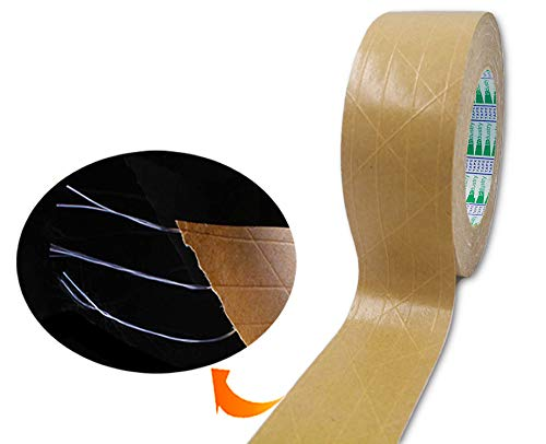 """Elepa Reinforced Kraft Paper Tape-2"""" X 165 Feet-Self Adhesive Packaging Tape, Used for Heavy Duty Packaging, Warehouse Storage, Shipping (Water-Free Activated)"""