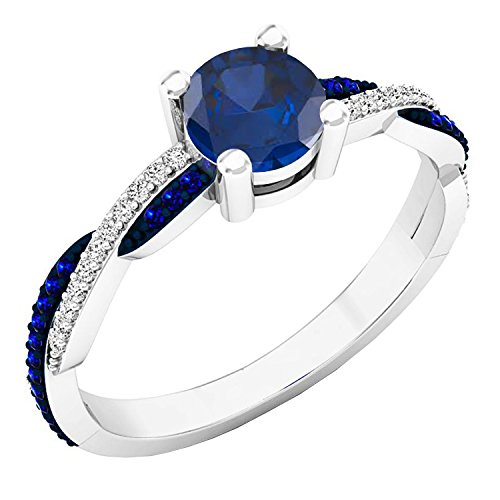 Dazzlingrock Collection 10K Round Blue Sapphire & Diamond Ladies Swirl Split Shank Engagement Ring, White Gold, Size 7 (Design 10k White Swirl Gold)