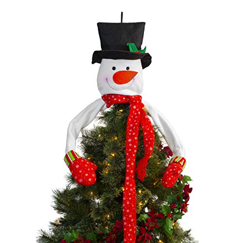Besti Snowman Christmas Tree Topper (Plush) Large, Indoor Holiday Decoration | Jolly Frosty Hugging Fun with Mittens, Top Hat, Long Scarf | Festive Red, White, and ()
