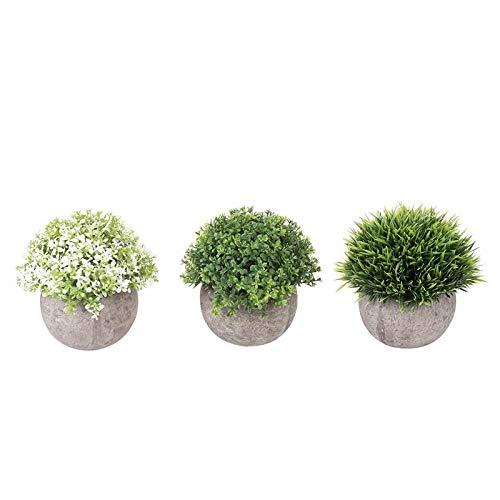 Pinkdose Bestoyard 3 Pezzi Mini plastica falsificata Faux Green Grass Simulazione Piante Artificiali con vasi per la Cultura della casa