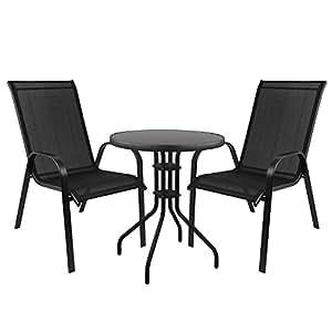Juego de 3muebles de jardín Bistro–Mesa con tablero de cristal, Ø60x h71cm + 2x sillas apilables con cordaje, estructura de acero pulverizado,–Negro