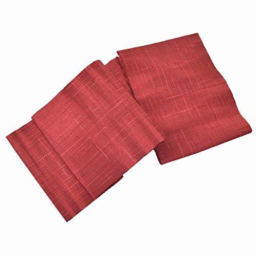 乳白色死ガムリサイクル 名古屋帯 中古 正絹 八寸 なごやおび 紬地 縞文様 赤系 ll1064b