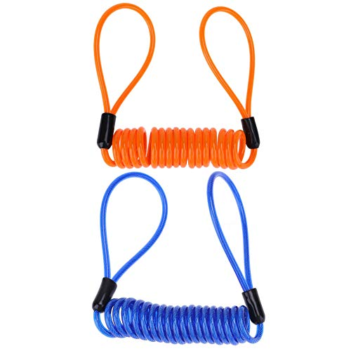 Coil Cable Lock - YOFUNTLE Reminder Cable, [2 Pack] Disc Lock Cable,Security Steel Wire Spring Reminder Rope for Scooter Motorcycle Motorbike Vehicle Baggage Helmet Lock,Antitheft Protection on Handlebar(Orange+Blue)