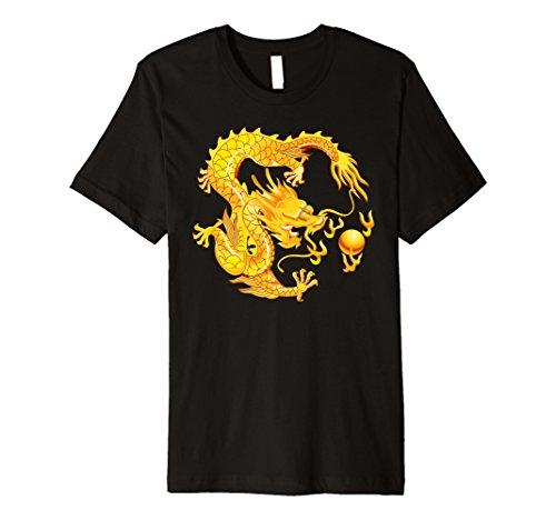 (Fearless Golden Chinese Dragon Fire Ball T-Shirt)