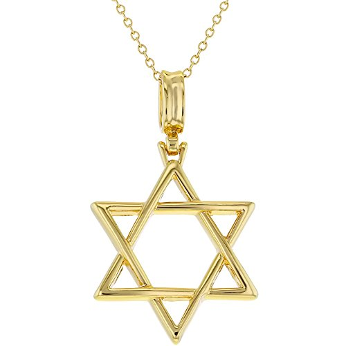 18k Gold Plated Religious Jewish Star of David Pendant Necklace Unisex 19
