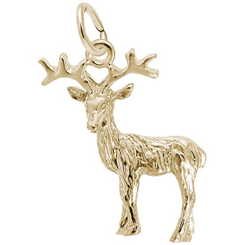 10k Yellow Gold Reindeer Charm Charms Bracelets Necklaces