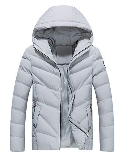 Zipper Hooded Slim Grey AnyuA Jacket Full Non Coat Warm Men's Waterproof AnwC4qP