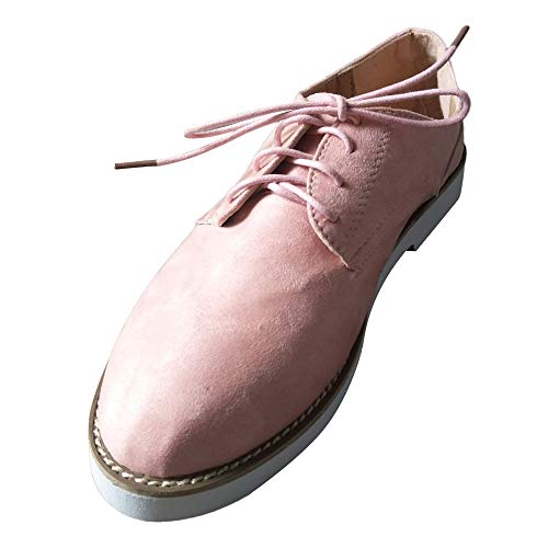 Nevera Women's Perforated Lace-up Flat Oxfords Ladies Casual Vintage Shoes Pink