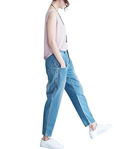 Avec Taille 5 Pantalon Femmes Haute Youlee Coton Poches Jeans Toile Style xqn0Ux1wv5
