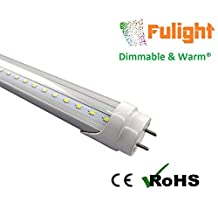 Fulight Dimmable & Warm ¤ T8 LED Tube Light - 3 Foot 14W (25W Equivalent), Warm White 3000-3500K, F25T8, F30T8, F30T12/WW, Double-End Powered, Clear Cover, Works from 110-120VAC - Fluorescent Replacement Bulbs (Installation Manual attached in the Images!!)