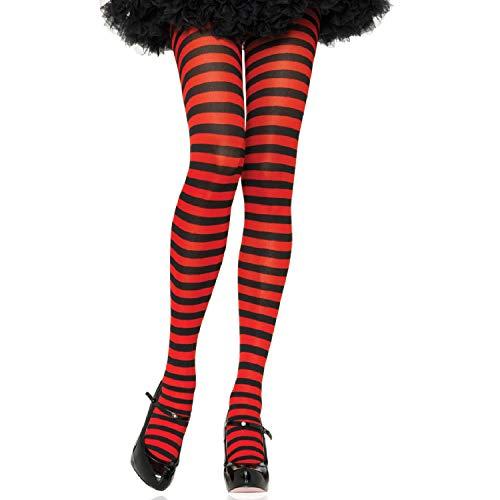 Leg Avenue Women's Nylon Striped Tights, Black/Red, 3X-4X]()