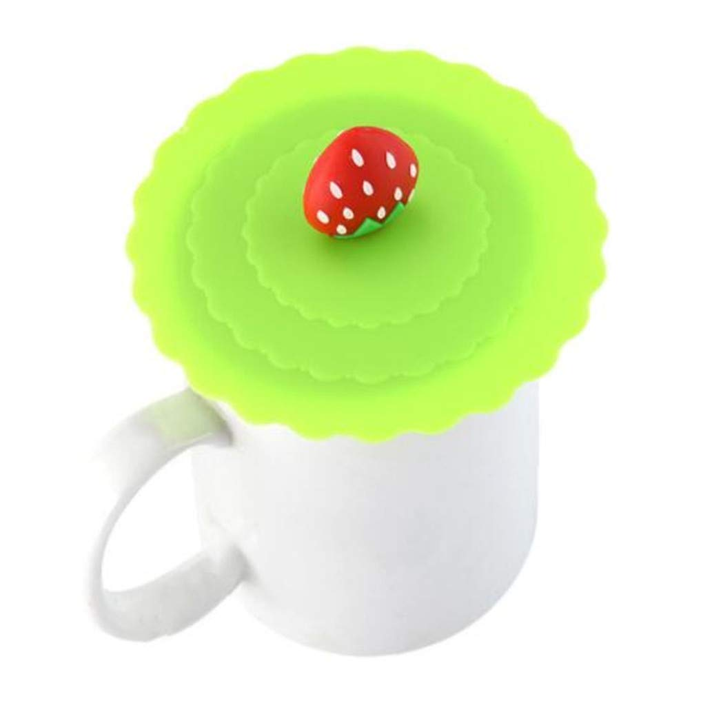 KISSFRIDAY Cute Wave Adorn Water Drinking Cup Lid Silicone Anti-dust Bowl Cover(style 2)