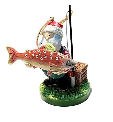 Cape Shore Resin Fishing Santa Holding Salmon Fish Ornament