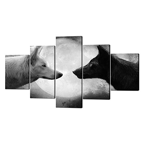 Yatsen Bridge 5 Panels Modern Wolf Canvas Wall Art Black and White Wolf Picture Prints on Stretched and Framed Giclee Wall Art Print Ready to Hang for Home Decor - 60''W x 32''H ()