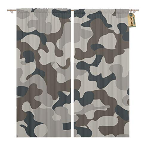Golee Window Curtain Gray Army Modern Camo Pattern Brown Camouflage Baffle BDU Home Decor Rod Pocket Drapes 2 Panels Curtain 104 x 63 inches