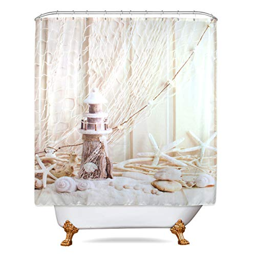 Riyidecor Seashell Lighthouse Starfish Shower Curtain Set Beige Nautical Bathroom Decor Fabric Set Fishing Net Marine Ocean Beach Polyester Waterproof 72 x72 Inches 12-Pack Plastic Shower Hooks ()