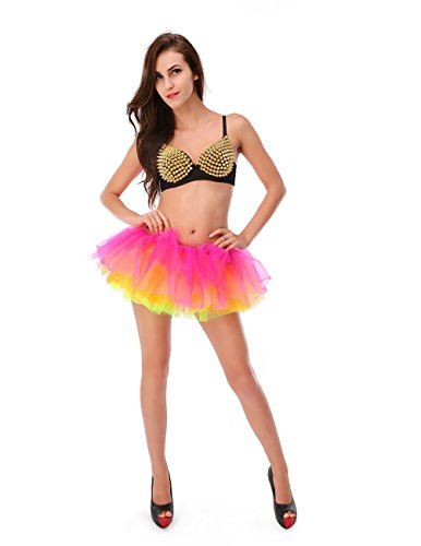 Dressystar Women's Adult Tulle Tutu Ballet Dance Fluffy Skirt Assorted Colors LilacYellow]()