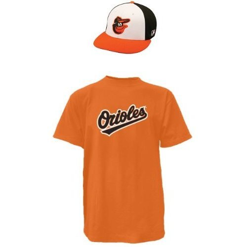 Majestic Athletic Baltimore Orioles Adult Cap & Adult Large Jersey (Official Major League Baseball Licensed Replica Hat & Cotton Crewneck T-Shirt Replica Jersey)
