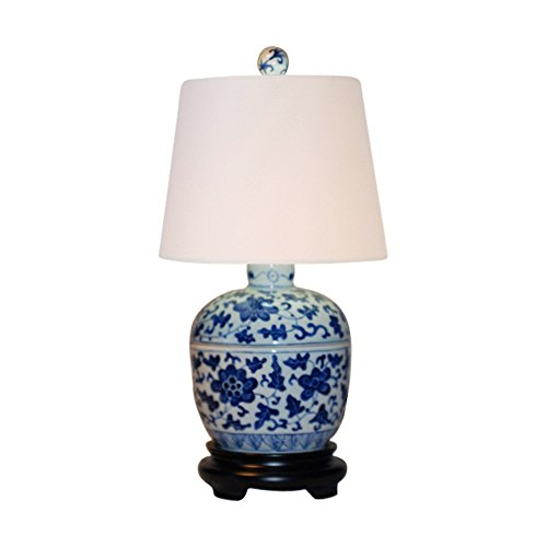 Ginger Lamp Porcelain Jar (Beautiful Blue and White Porcelain Ginger Jar Table Lamp 14