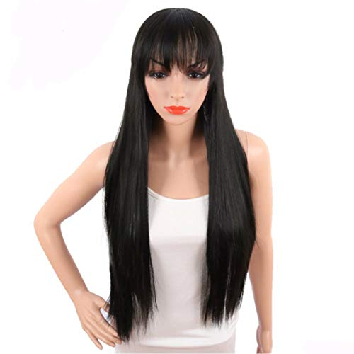 Black Straight Wig -Long Ladies Wig with Bangs Fringe for White People Full Head Halloween Wigs Cosplay Costume Party Daily Use for -