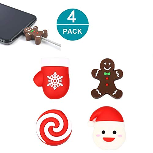 Newseego Compatible iPhone Cable Protector Charger Saver Cable Chewers Cable Christmas Cute Bite Cable Accessory-4 Pack