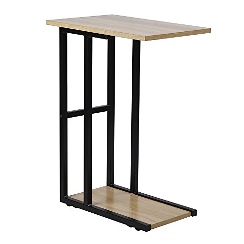 pe Side End Table, Wooden/Black (Industrial Slide)