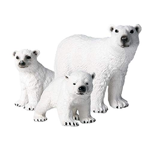 SODIAL Children's Simulation Wild Marine Animal Model Solid Environmental Protection Ornaments Polar Bear Toy Set Polar Bear Figurine