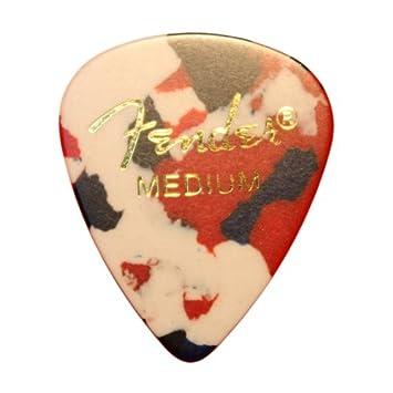 Fender Classic para guitarra celuloide/púas en estuche de metal - 351 de gran calibre Tamaño Mediano 12 x Confetti estilo púas de Dirty Riffs