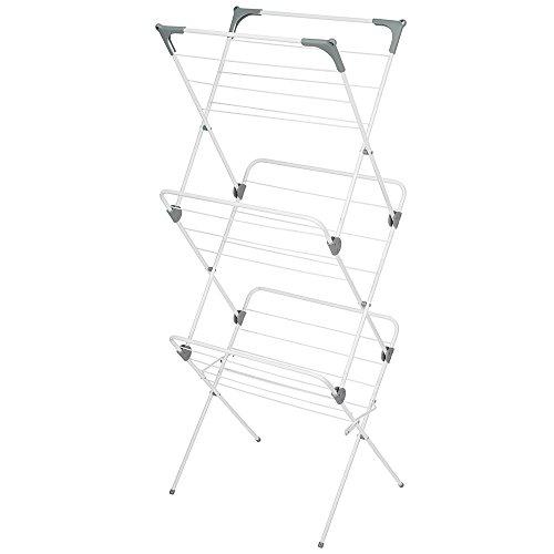InterDesign Brezio Folding Laundry Drying Rack – White/Gra